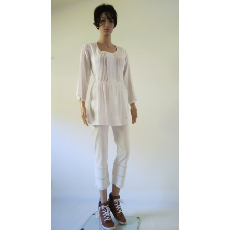 Casual White Laced Design Pants
