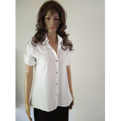 White Sporty Shirt Collar Blouse