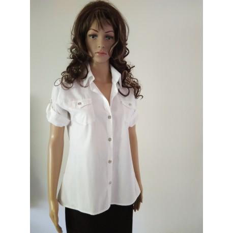 White Sporty Shirt Collar Blouse