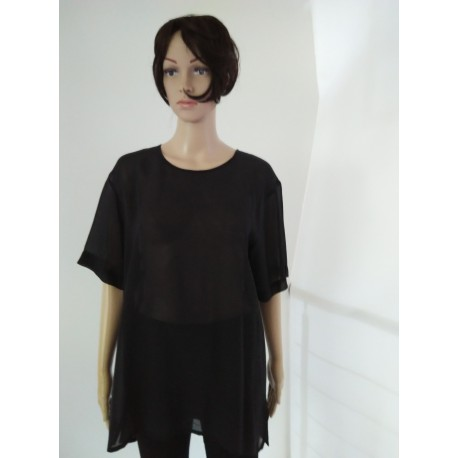 Black Transparent Silk Blouse