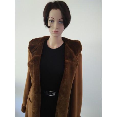Luxury Vintage Style Leather Look Coat